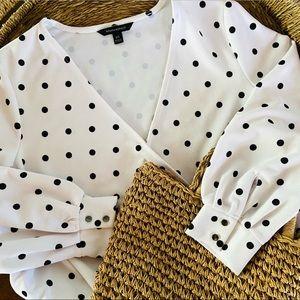 Banana republic polka dot wrap blouse
